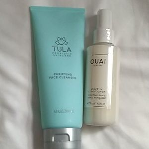 Bundle of Tula face cleanser and ouai leave in